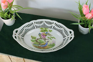 Antique french porcelain faience birds decor Bread basket tray