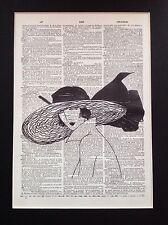 ART Deco Francese di moda Lady A4 idea regalo di dimensioni pagina di dizionario Antiquariato Arte