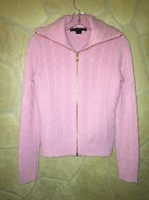 Ralph Lauren BLACK LABEL Pink Zippered 100% Cashmere Cableknit Sweater, Size M