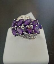 Great Style and Color Genuine Amethyst with White Topaz Size 7