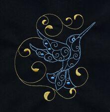 Ten Embroidered Quilt Blocks - BLUE HUMMINGBIRDS ON BLACK KONA COTTON