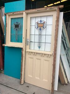 LEADLIGHT EDWARDIAN FRONT DOOR AND SIDE LIGHT