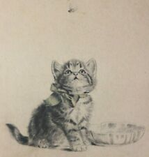 Meta Plückebaum, Kitten watching a Fly, colored etching, signed lower right