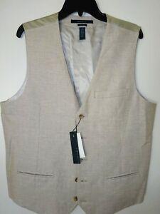 Perry Ellis Mens Vest Large Linen Blend Natural Linen Core NWT