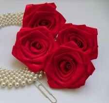 "3"" Red Satin Ribbon Roses Large Flower Christmas Crafts-Lots 10 Pcs-R0024R"