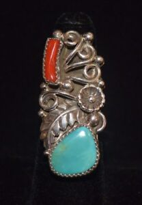 Ring Native American Turquoise Coral Sterling Silver Navajo M Calleditto Size 7