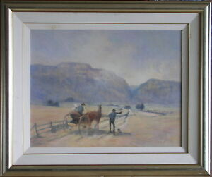 Rex Newell (1939-2016) Large Original Oil Painting Hichhiking In Hunter Valley