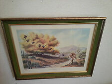 Vintage Lithograph - LAST GATHERING OF THE COVEY - Larry Toschik 1971 - QUAIL