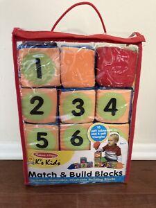 Melissa & Doug Match & Build Soft Blocks Stackable Matchable Washable