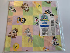 Vintage Hallmark Baby Looney Tunes Gift Wrap - 2 Sheets New Old Stock