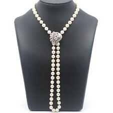 Akoya Zucht Perlen Kette Schließe mit Diamanten 585er Gold 14 Kt Weißgold