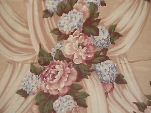 VTG ROSE HYDRANGEA FLORAL BOUQUET BARKCLOTH ERA FAILLE DRAPE FABRIC Trevor 3+ Y