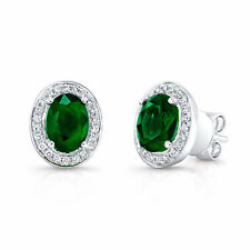 3.66 TCW 14k White Gold Natural Oval Cut Emerald Gemstone Diamond Stud Earrings