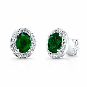 14k White Gold Oval Cut Emerald Gemstone Diamond Stud Earrings 3.66 TCW Natural