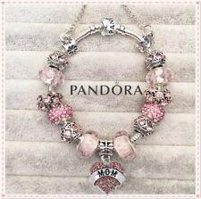 Authentic Pandora Silver Snake Chain Bracelet w. Pink LOVE MOM European Charms