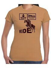 Ladies Eat Sleep Ride Horse Riding T Shirt