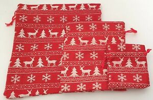 NEW Individual Red christmas reindeer print drawstring gift bag 22x20cm party