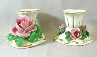Vintage Antique Dresden Small Rose Candle Holders Germany 2 Different Backstamps