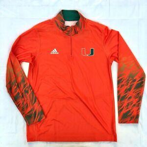 adidas Men's Miami Hurricanes Long Sleeve 1/4 Zip Shirt - Orange Green Size L