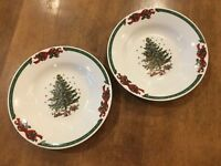 Set of 2 - China CHRISTMAS IN THE PARK Porcelain Ware Soup Cereal Bowls EUC