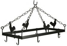 COUNTRY ROOSTER POT & PAN RACK Hanging Wrought Iron w/ 8 Scroll Hooks AMISH USA