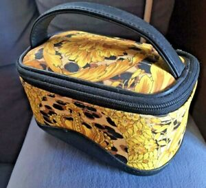 GIANNI VERSACE Authentic Cute Rare Mini Yellow Baroque Vanity Pouch Bag
