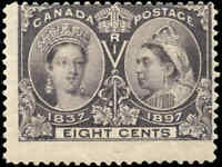 1897 Mint H Canada F Scott #56 8c Diamond Jubilee Stamp