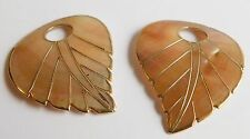 2 Mother of Pearl Abalone Leaf Design Gold Trimmed Pendants