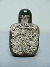FABULOUS HAND CARVED 19th C. CHINESE AGATE/STONE SNUFF BOTTLE, MAN with OXEN