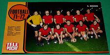RARE TELE POCHE FOOTBALL 1971-72 EQUIPE STADE RENNAIS 1972 RENNES ROAZHON