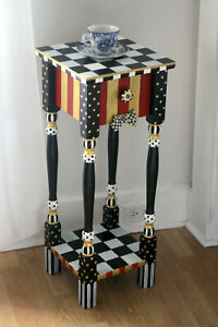 Whimsical Red & Gold Nightstand / Side Table - feat: mackenzie childs ribbon