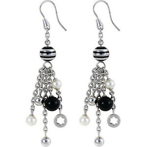 Montblanc Pearl, Onyx & Enamel Silver Drop Earrings