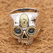 Men's Solid 925 Sterling Thai Silver Ring Gold Skull Zircon Size 8 9 10 11 12