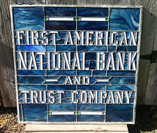 RARE Antique First American National Bank & Trust Co Stained Glass Window Sign
