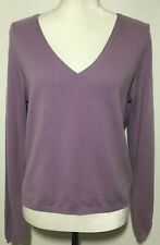 Alfani Women's Size M 100% 2-Ply Cashmere Long Sleeve Sweater V-Neck Lavender