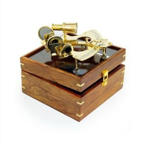 """8.5"""" Large Sextant with Wooden Box, Pirates Gift Decor Ideas, Nautical Replica"""