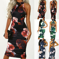 Womens Summer Floral Cold Shoulder Bodycon Dress Evening Party Frill Midi Dress