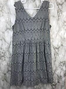 Lucky Brand Womens Sz 2X Sleeveless Dress Black White Back Zip Lined