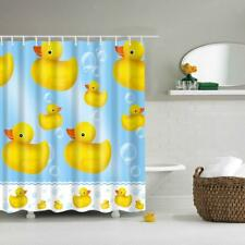 Polyester Shower Curtain Bath Hooks Set Hanging Panel Fabric Ducks Print