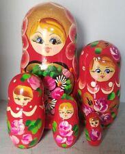 Nesting Doll Set Russian Gold Red Head Girl Blue Eyes Glitter Vintage? 4 Dolls