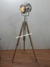 Vintage Theater Nautical Chrome Spotlight Floor Lamp With Tripod Stand