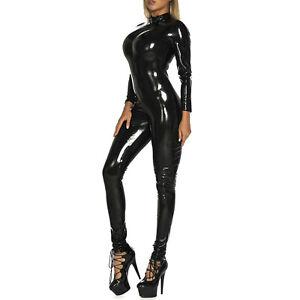 Women Jumpsuit Wet Look One Piece Long Sleeve Catsuit Zipper Bodysuit Clubwear