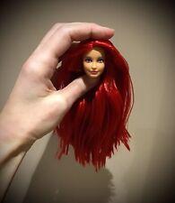 Barbie red long hair Barbie doll head