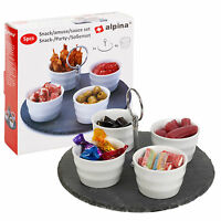 5 Pc Slate Snack Dish Party Condiments Sauce Appetizer Serving Tray Tapas Food