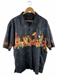 Lowes Mens Hawaiian Shirt Size XL Black Short Sleeve Button Up Martini Drinks