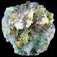 "PRISTINE Green/Blue ""PURPLE PHANTOM"" FLUORITE w/ CALCITE (Tucson Mineral Show!)"