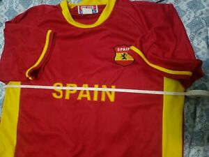 Spain Team Jersey Large Red Yellow Espana Flag Shield Pride Sports Soccer