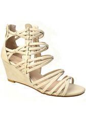 New Womens Strappy Open Toe Wedge Sandals Beige Size 7