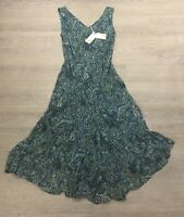 BNWT EAST hand embellised green lagoon long maxi hankichief lined dress UK 18