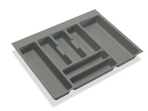 Cutlery tray inserts for kitchen drawers, grey plastic, cabinet sizes 400-1200